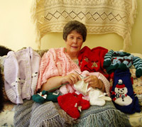 Sharon Schauf and her knitting